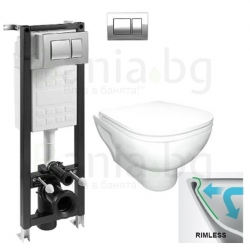 Комплект ROCA FAYANS EMILIA Rimless, тоалетна чиния с капак със забавено падане, структура за вграждане ECO Compact 35 см.с буто