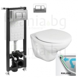 Комплект ROCA FAYANS NEO Rimless, тоалетна чиния с капак със забавено падане, структура за вграждане ECO Compact 35 см.с бутон