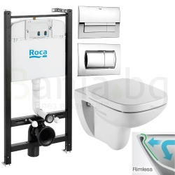 Комплект ROCA DEBBA SQUARE Rimless, тоалетна чиния без ринг, капак със забавено падане, структура ROCA Active и бутон по избор