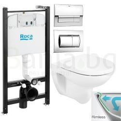 Комплект ROCA DEBBA ROUND Rimless, тоалетна чиния без ринг, капак със забавено падане, структура ROCA Active и бутон по избор