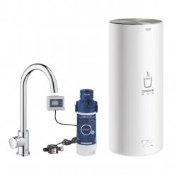 Система за филтрирана гореща питейна вода GROHE Red Mono, за кухня, с бойлер размер L, 7 л, с филтър за вода и кухненски кран с C-чучур