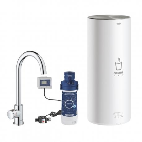 Система за филтрирана гореща питейна вода GROHE Red Mono, за кухня, с бойлер размер L, 7 л, с филтър за вода и кухненски кран с