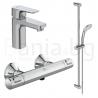 Комплект за баня IDEAL STANDARD CERATHERM T25, термостатен смесител за душ A7201AA, смесител за мивка Ceraplan III BC560AA и тръбно окачване Idealrain с ръчен душ 3 функции BC797AA