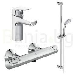 Комплект за баня IDEAL STANDARD CERATHERM T25, термостатен смесител за душ A7201AA, смесител за мивка CERAFLEX GRANDE B1713AA и тръбно окачване Idealrain с ръчен душ 3 функции BC797AA
