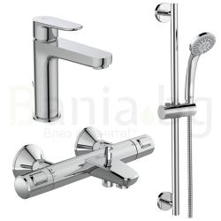 Комплект за баня IDEAL STANDARD CERATHERM T25, термостатен смесител с чучур A7206AA, смесител за мивка CERAFINE O BC699AA и тръбно окачване Una с ръчен душ 3 функции B1248AA