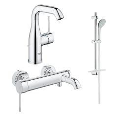 Комплект GROHE Essence New смесител за мивка, смесител вана/душ и душ Euphoria 110