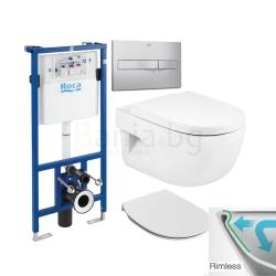 Комплект ROCA MERIDIAN Rimless, тоалетна чиния без ринг, капак със забавено падане, структура и бутон ROCA по избор