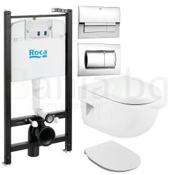 Комплект ROCA MERIDIAN, тоалетна чиния, капак със забавено падане, структура и бутон ROCA по избор