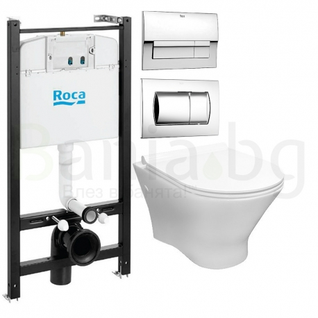 Комплект ROCA NEXO Rimless тоалетна чиния и капак, структура и бутон ACTIVE
