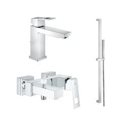 "Комплект GROHE Eurocube смесител за мивка 1/2"", смесител вана/душ и душ GROHE Euphoria Cube"