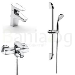 Комплект за баня ROCA Esmai 1, смесители за мивка и вана/душ с чучур с тръбно окачване и ръчен душ