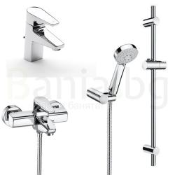 Комплект за баня ROCA Esmai 2, смесители за мивка и вана/душ с чучур с тръбно окачване и ръчен душ