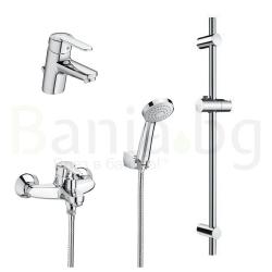Комплект ROCA VICTORIA L 3v1 Смесители за мивка и вана душ с ръчен душ, шлаух и тръбно окачване