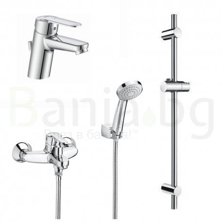 Комплект ROCA VICTORIA BULKY 3v1 Смесители за мивка и вана душ с ръчен душ, шлаух и тръбно окачване