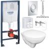 Комплект GROHE Rapid SL 39503000 MIRA, структура за вграждане, с по-малък и тънък дизайнерски бутон Skate Air S, тоалетна ROCA FAYANS MIRA с капак по избор