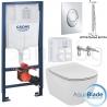Комплект GROHE 39503000 /IDEAL STANDARD Tesi AquaBlade, тоалетна чиния, капак по избор, структура за вграждане GROHE с по-малък и тънък дизайнерски бутон Skate Air S