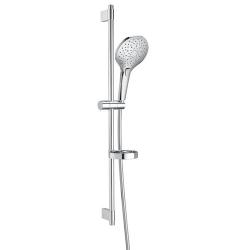Комплект ръчен душ ROCA Plenum Round 140 mm, с тръбно окачване 800 mm, 3 функции