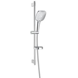Комплект ръчен душ ROCA Plenum Square 140 mm, с тръбно окачване 800 mm, 3 функции