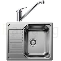 Комплект за кухня, мивка BLANCO TIPO 45S Mini от неръждаема стомана, мат и смесител BLANCO DARAS, хром