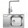 Комплект за кухня, мивка BLANCO DINAS XL 6S Compact от неръждаема стомана, мат и смесител BLANCO MILA, хром