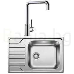 Комплект за кухня, мивка BLANCO DINAS XL 6S Compact от неръждаема стомана, мат и смесител BLANCO MIDA, хром
