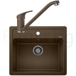 Комплект за кухня, мивка BLANCO LEGRA 6 SILGRANIT ™, от синтетичен гранит и смесител BLANCO DARAS - Кафе