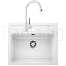 Комплект за кухня, мивка BLANCO LEGRA 6 SILGRANIT ™, от синтетичен гранит и смесител BLANCO MIDA - Бял