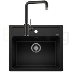 Комплект за кухня, мивка BLANCO LEGRA 6 SILGRANIT ™, от синтетичен гранит и смесител BLANCO MILI - Черен