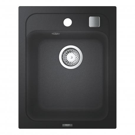 Мивка за кухня GROHE K700 31650AP0 с автоматичен сифон - за над плот, цвят granite black, от синтетичен гранит