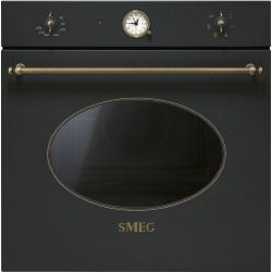 Фурна за вграждане SMEG  Coloniale, SF800AO Ретро, антрацит с месинг
