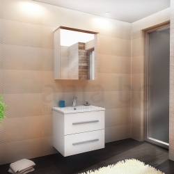 Мебели за баня САРА, размери 65 см или 80 см, комплект долен шкаф с мивка и горен шкаф с огледало