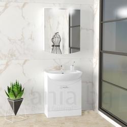 Мебели за баня КОЛО 55 см., комплект долен шкаф с мивка и горен шкаф с огледало