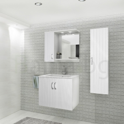 Мебели за баня ПАРОС 65 см., комплект долен шкаф с мивка и горен шкаф, ЛЯВ, с огледало, без колона