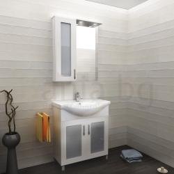 Мебели за баня БРИЗ 60 см.,  ЛЯВ, комплект долен шкаф с мивка и горен шкаф с огледало