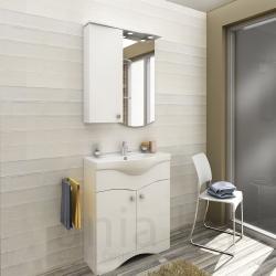 Мебели за баня ЕЛЕКТРА 65 см., ЛЯВ, комплект долен шкаф с мивка и горен шкаф с огледало