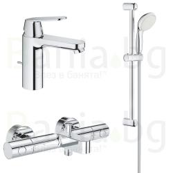 Комплект за баня GROHE EUROSMART COSMO, смесители за мивка и вана с чучур и душ система GROHE New Tempesta 210 мм, 23325000, 328