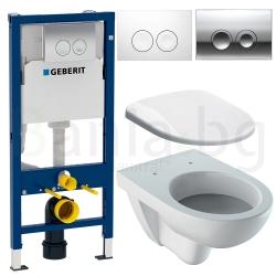 Комплект GEBERIT DUOFIX DELTA 21 SELNOVA, тоалетна чиния SELNOVA, капак, структура за вграждане с бутон DELTA 21 по избор
