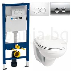 Комплект GEBERIT DUOFIX DELTA 21 KOLO IDOL, тоалетна чиния KOLO IDOL, капак със забавено падане, структура за вграждане с бутон