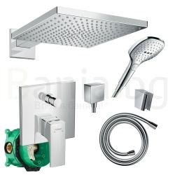 Комплект за вграждане HANSGROHE RAINDANCE, за душ, смесител външна и вътрешна част, квадратна душ пита 300 мм с рамо, ръчен душ