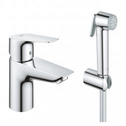 Смесител за мивка GROHE BauEdge NEW, S-size,стоящ, със санитарен душ, държач и шлаух, 23757001