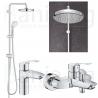 Комплект за баня GROHE EUROSMART NEW, смесители за мивка S-size, 33265003 и вана и душ, 33300003 и душ система GROHE New Tempest