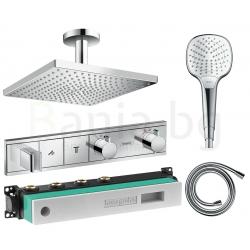 Термостатен комплект за вграждане HANSGROHE RAINSELECT 2, за душ, термостатен смесител външна и вътрешна част, квадратна душ пит