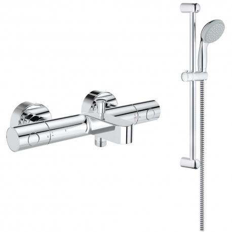 Комплект GROHE Grohtherm 1000 Cosmopolitan термостатен смесител вана/душ и душ GROHE New Tempesta 100