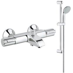Комплект GROHE Grohtherm 1000, термостатен смесител вана/душ и душ GROHE New Tempesta 100