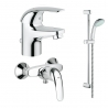 Комплект GROHE Euroeco смесител за мивка, смесител душ и душ GROHE Tempesta Mono