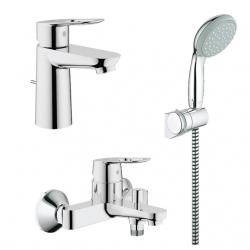 Комплект GROHE BauLoop смесител за мивка, 23335000, смесител душ, 23341000 и душ GROHE New Tempesta 100 Eco, 2760100E