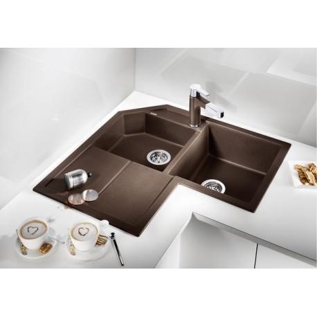 Мивка за кухня BLANCO METRA 9 E SILGRANIT ™ - ъглова, Кафе, от синтетичен гранит