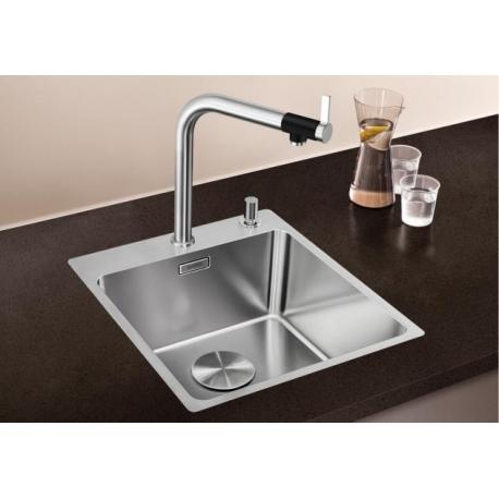 Кухненска мивка BLANCO ANDANO 400 IF/A от неръждаема стомана, за монтаж на равно с плота, с платформа за смесител