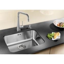 Кухненска мивка BLANCO SUPRA 500 U от неръждаема стомана, за монтаж под плот, с автоматичен сифон