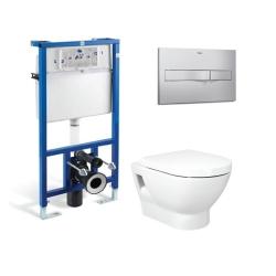 Комплект ROCA TIPO тоалетна чиния и капак със забавено падане, структура и бутон ROCA
